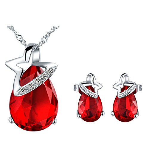 Women Fashion Bride Sets Pendant Necklace And Elegant Earrings Red - 8