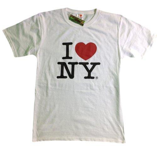 I Love NY New York Short Sleeve Screen Print Heart T-Shirt White (5XL)