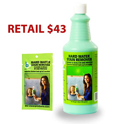 Water Spots Chrome - Bio Clean: Eco Friendly Hard Water Stain Remover (40oz Large)- Our Professional Cleaner Removes Tuff Water Stains From Shower doors, Windshields, Windows, Chrome, Tiles, Toilets, Granite, steel e.t.c