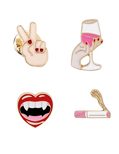 Enamel Pin Set Lapel Feminine Wine Glasses Vampire Lips Cigarette Peace Sign Hands Cute Cartoon Brooch ()