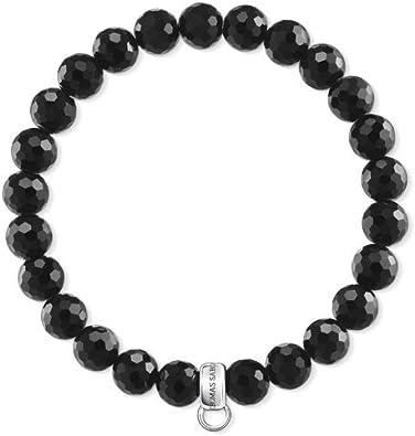 Thomas Sabo Charm Club X0220-840-11 - Pulsera para mujer, plata de ley 925, obsidiana, color negro