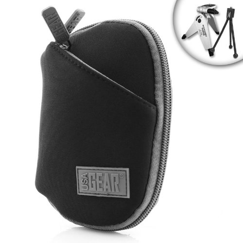 USA Gear Portable Digital Camera Carrying Case for Sony Cyber-shot DSC TX20 , WX50 , WX80 , WX300 , W710 , TX30 & Many More Compact Digital Cameras *Includes Bonus Mini Tripod* (Sony Tx20 Accessories)