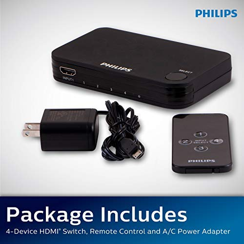 Philips 4 Device HDMI Switch, Wireless Remote, Use with 4K