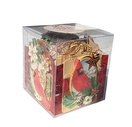 Punch Studio Reindeer & Cardinals Christmas 3D Embellished Gift Tags (64723) 16 ct in Cube