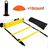 Adjustable Rungs Agility Ladder with Carry Bag, Speed Training Exercise Ladders, Agility Training Set for Soccer Basketball Sport Speed Training,12 Adjustable Flat Rungs and 10 Cones
