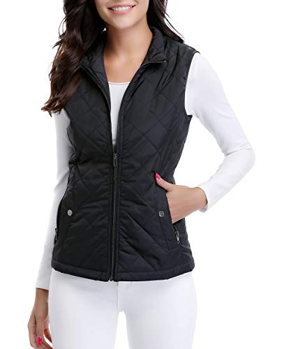 (MISS MOLY Women's Lightweight Zip up Stand Collar Warm Quilted Gilets Padded Puffer Vest Outerwear w 2 Pockets Black)