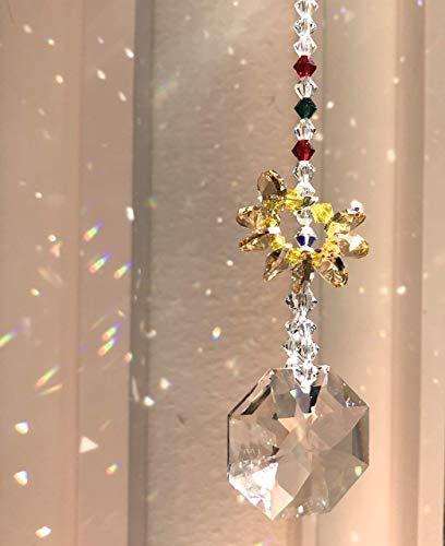 Holiday Ornament, Christmas Decoration, Swarovski Crystals, Christmas Suncatcher, Christmas Tree, Window Mobile, Aurora Borealis, 9084 from Judy Evans Collection