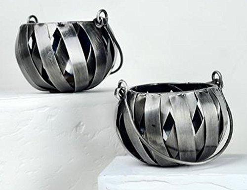 AllAsta Recycled Metal Silver Pewter Candle Holder Lantern (Basket Weave Candle Holder)