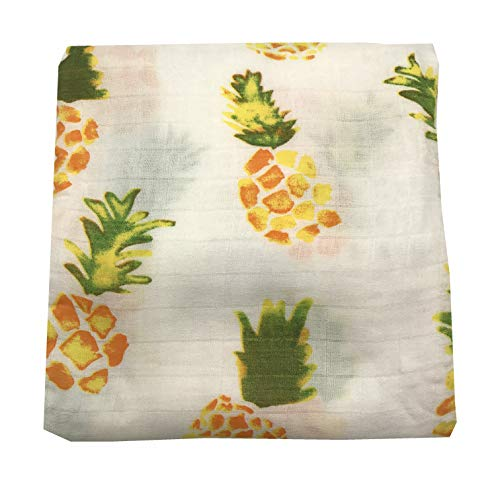 (HGHG Bamboo Cotton Muslin Baby Blankets Bedding Infant Swaddle Towel Multifunctional Envelopes 47x47 Baby Pineapple Swaddle Blanket (Pineapple) )