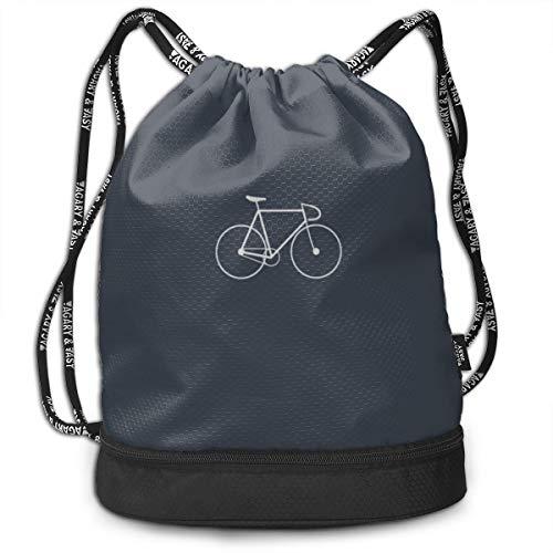 Bike Drawstring Gym Sack Sport Bag Printed School Backpack Travel Rucksack