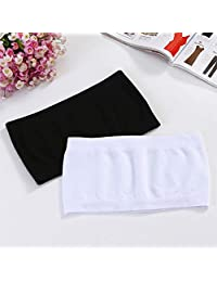 2 Pieces 2018 New Women Strapless Seamless ice Silk Padded Boob Bandeau Tube Tops Wrapped Underwear Black White 2 Colors (Color : Black and White, Size : One Size)