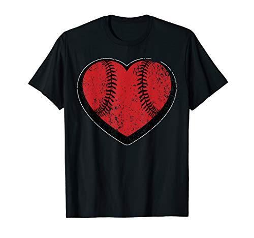 Baseball Heart Vintage Valentine's Day Shirt for Kids Boys