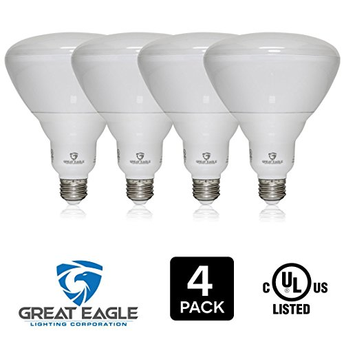 Great Eagle (4-pack) LED BR40 3000K Dimmable Bulb. 18 Watt (120W) UL Listed 1500 Lumens Bright White Light for Recessed and Track Lighting Fixtures - USA Seller