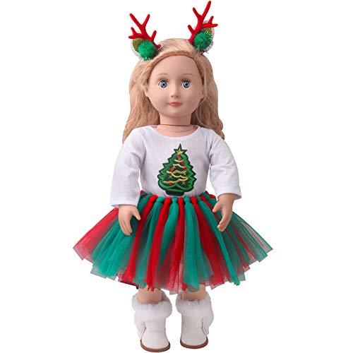 E-TING Dolls Clothes, Headband, Tutu Dress fits for 18 inch Dolls (Christmas Costume Set)