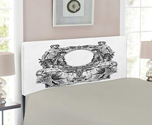 Ambesonne Victorian Headboard, Old Victorian Frame 2 Man and 2 Woman Baroque Crown Princess Art, Upholstered Decorative Metal Headboard with Memory Foam, for Twin Size Bed, Black White (Headboard White Baroque)