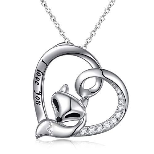 (S925 Sterling Silver Engraved I Love You Fox in Heart Pendant Necklace for Women Girls (Fox in Heart))