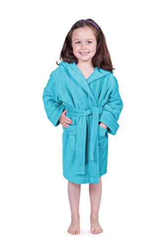 Bamboo Hooded Robe (Kid's Bathrobe - Cozy Hooded Terry Cloth Children's Bathrobe for Boys and Girls (Blue Splash, Medium) Great Hannukah Gifts)