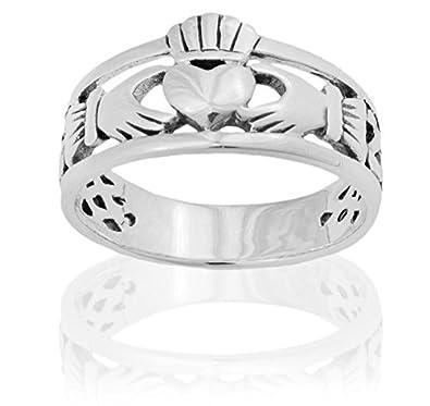 925 Sterling Silver Ring Claddagh Heart Design 95JorFoa