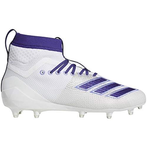 adidas Men's Adizero 8.0 SK Football Shoe, White/Collegiate Chalk Purple, 10 M US