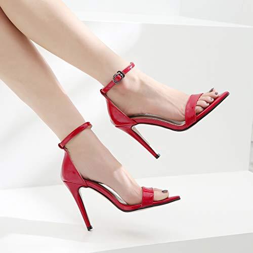 Palabra Abierta Elegante Las xx Alto 39 Moda Fiesta Mujeres Banquete Zyn La Puntiagudas Fina red Puntera Sandalias Boda Zapatos Superficial Hebilla Una De Con Punta Tacón X8Zvw