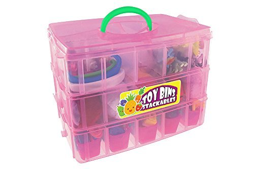 Compact High Capacity Toy Carrying Case - Toy Bins Stackables Holds Over 300 Shopkins, Comes With Extra Colored Handles and Stickers