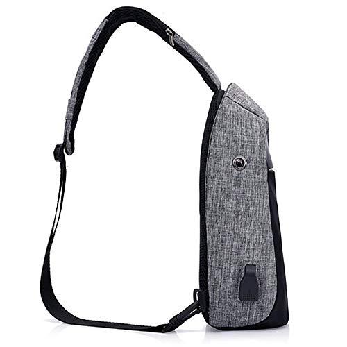 Ligera de Carga Hombro USB de de Wind Pecho Deporte Senderismo Ciclismo Viajes con Camping Negro Bolsa para negro Puerto de Goal de Viento Bolsa Mochila qa7axfEAw