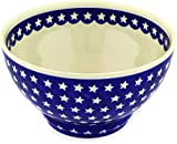 Polish Pottery 9-inch Bowl (America The Beautiful Theme) + Certificate of Authenticity