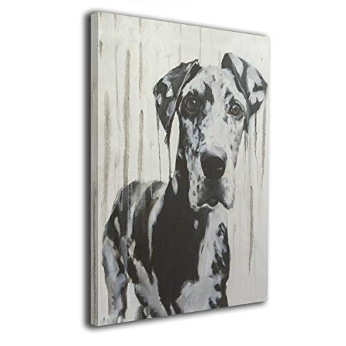 Hobson Reginald Canvas Wall Art Prints Black and White Harlequin Great Dane Drippy -Picture Paintings Contemporary Decorative Giclee Artwork Wall Decor-Wood Frame Gallery Wrapped 16