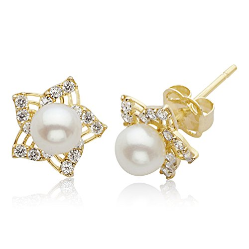 Swirl Earrings Pearl (Real 14K Yellow Gold CZ Swirl Star Stud Earrings with 4.0mm Fresh Water Pearl Center for Women and Girls)