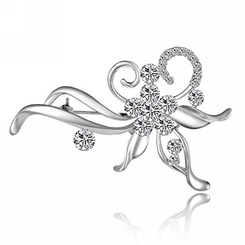 Merdia Brooches Pin for Women Created Crystal Pin for Wedding,Party Silver Color by Merdia
