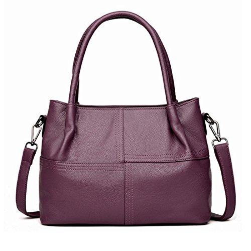 Mediana FUBULE Edad Mujer Bolso Capacidad para Bolso de Cuero Gran Suave Color para de portátil Mujer Purple Hombro Black de de de Mujer qSwrIS