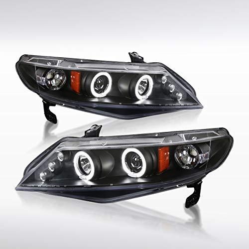 Autozensation For Honda Civic 4Dr Sedan Black LED Halo Projector Headlights
