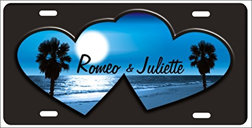 Personalized Blue Beach Scene Inside Two Hearts Custom Novelty Front License Plate for Lovers]()