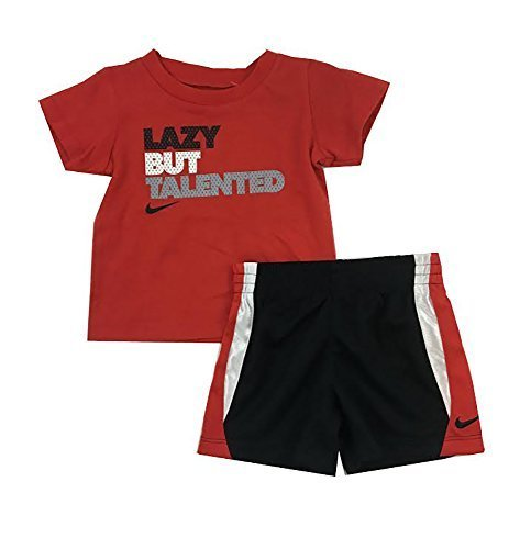26a405ca1f Nike Infant Boys Lazy But Talented Two Piece Tee Shirt and Shorts Set  Black/Red