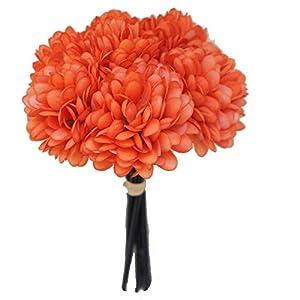 Lily Garden Silk Chrysanthemum Ball 7 Stems Flower Bouquet (Burnt Orange)