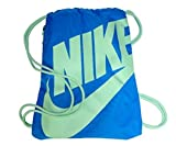 NIKE Heritage Drawstring Gymsack Backpack 400 Denier Sport Bookbag (Sky Photo Blue/Fresh Mint Green Signature Swoosh)