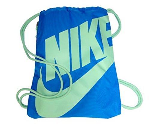 NIKE Heritage Drawstring Gymsack Backpack 400 Denier Sport Bookbag (Sky Photo Blue/Fresh Mint Green Signature Swoosh) -