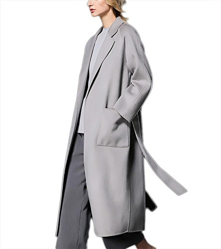 Suit Cappotto in Giacca Outwear donna Lace Collar cashmere Windbreaker autunno Ispessimento lana up gray in bifacciale inverno con cintura 7qX0wnO