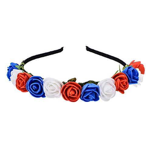 Love Sweety Boho Floral Crown Rose Flower Headband Hair Wreath (Red White Blue) ()