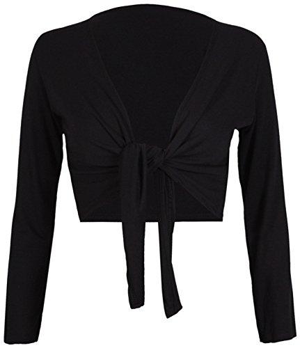 Para mujer de lazo atar frente Bolero Mujer Abierto Bolero recortada corto de líneas entretejidas tamaño 8–�?6 negro