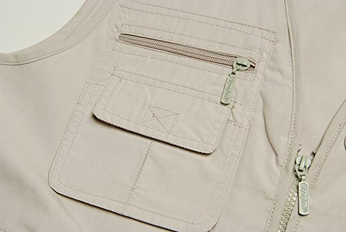 Gihuo Men's Summer Outdoor Work Safari Fishing Travel Vest with Pockets Beige