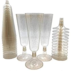 140 pc Gold Glitter Plastic Classicware Glass Like Champagne Wedding Parties Toasting Flutes Party Cocktail Cups