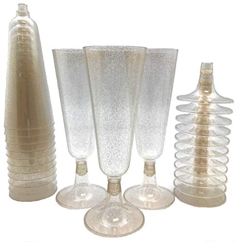 140 pc Gold Glitter Plastic Classicware Glass Like Champagne Wedding Parties Toasting Flutes Party Cocktail Cups -