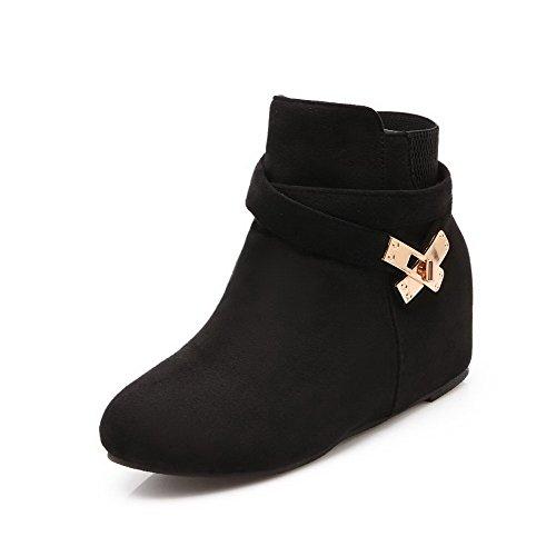 AllhqFashion Mujeres Cremallera Cuña Tachonado Tobillo Botas con Ornamento Metal Negro