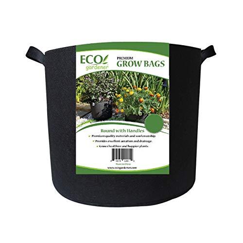ECOgardener Grow Bags 5 Gallon with Handles - 5Pk. Premium Quality Fabric Plant Pots.