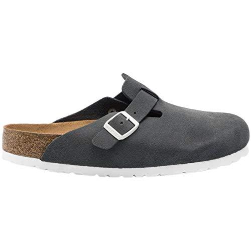 - Birkenstock Unisex Boston Soft Footbed Suede Gunmetal Sandals 7 W / 5 M US