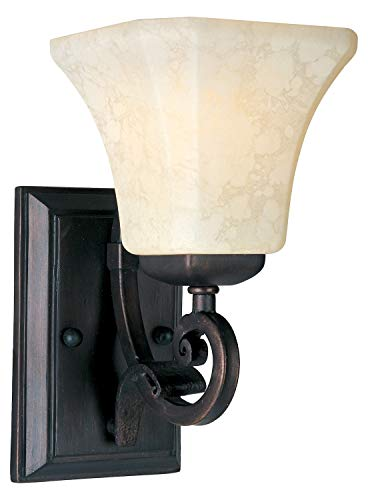One Light Frost Lichen Glass Rustic Burnished Wall Light ()