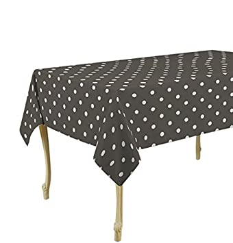 60 X 95 Inch Tablecloth Dark Grey Dots Stain Resistant, Washable, Liquid  Spills