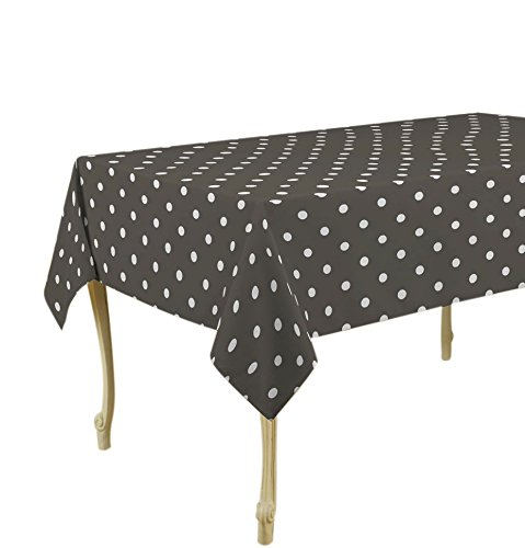 """My Jolie Home 60 x 80-Inch Rectangular Tablecloth Dark Grey with White Polka Dots, Stain Resistant, Washable, Liquid Spills Bead up, Seats 6 to 8 People (Other 63"""" Round, 60x95, 60x120). - Rectangular Tablecloth - Seats 6 to 8 People Stain resistant, spill proof, liquid spills bead up, non-stick coating makes clean-up easy Tablecloth is great for dinners; wedding; picnics; BBQ's; potlucks; parties; restaurants; everyday. - tablecloths, kitchen-dining-room-table-linens, kitchen-dining-room - 41GlO zh91L -"""