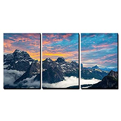 3 Piece Canvas Wall Art - Famous Italian National Park TRE Cime Di Lavaredo. Dolomites, South Tyrol. Auronzo - Modern Home Art Stretched and Framed Ready to Hang - 16
